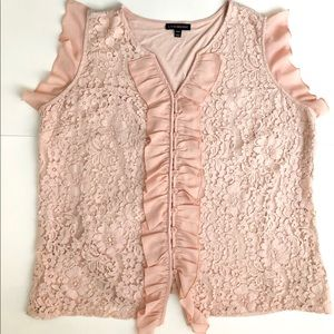 Pink lace ruffle top